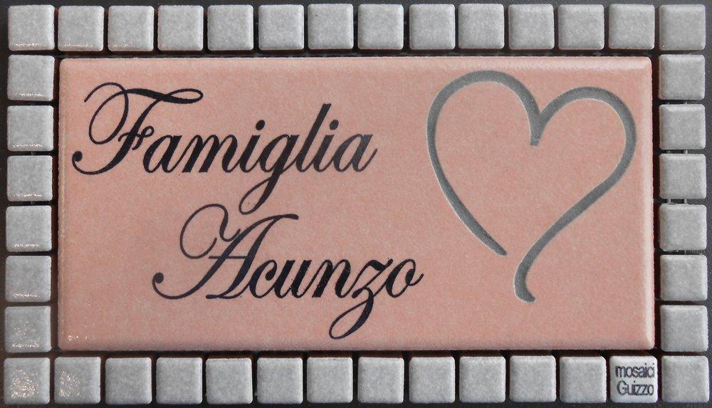 Mosaici Guizzo Targhetta in Ceramica incisa+Cornice/_Colori Rosa Tenue e Grigio Chiaro