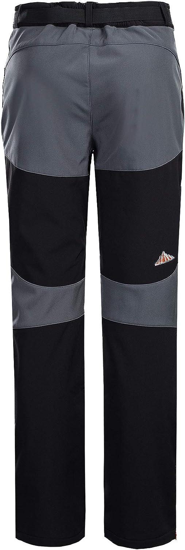 BOSOZOKU Mens Fleece Soft Shell Pants Windproof Waterproof Sport Trousers Breathable Hiking Pant