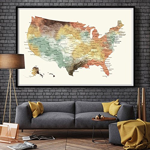 US Map Push Pin Wall Art Poster Print, USA states MAP large wall travel map, home decor, America Push Pin Map Poster - Us Order Tracking