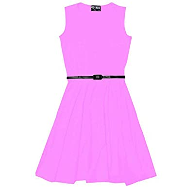 da3621ecd1b7 Girls Skater Dress Kids Party Dresses With Free Belt Age 7 8 9 10 11 ...