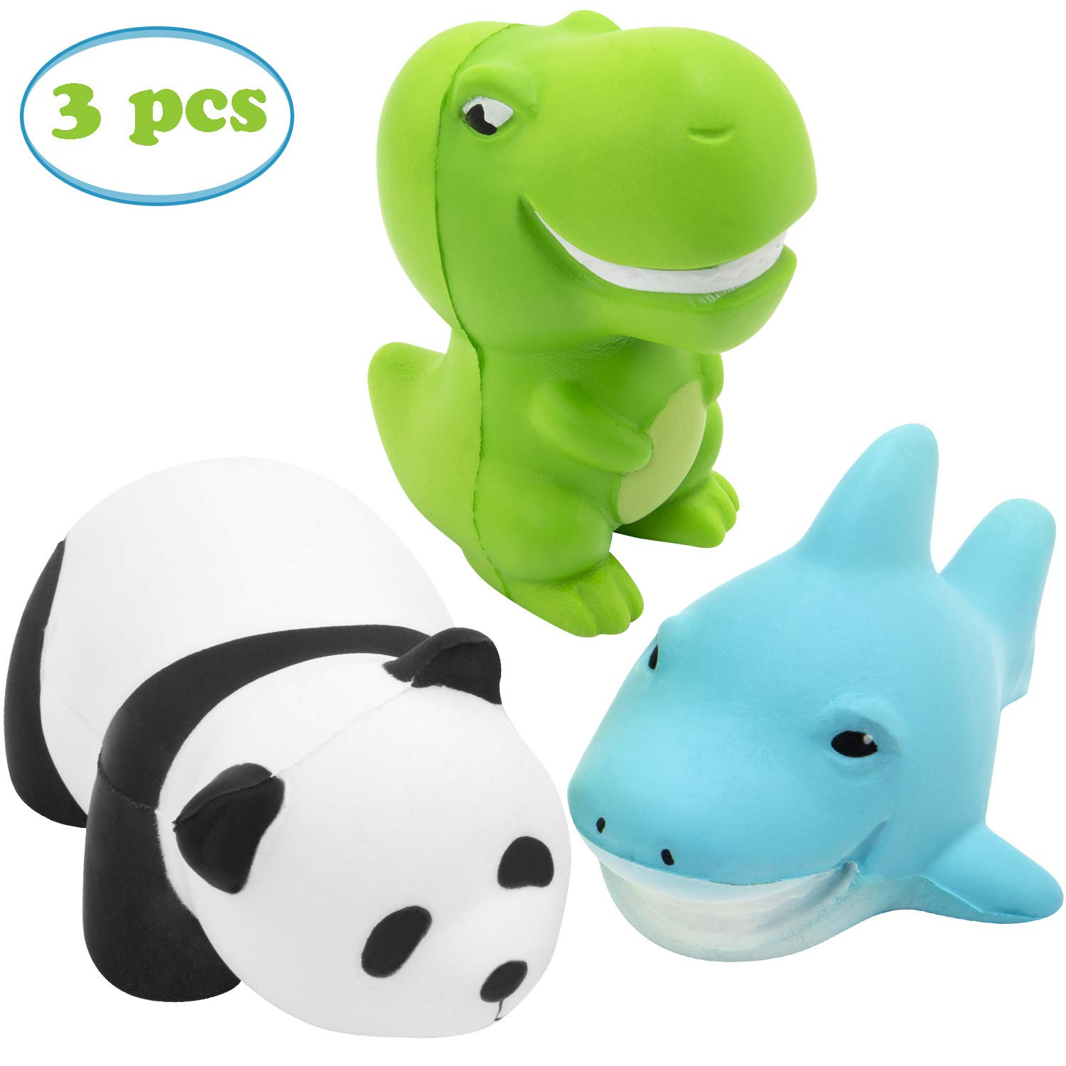 TEPSMIGO Squishy Toys, 5.2 inch Panda + 3.5 inch Dinosaur + 5.2 inch Shark, Animal Slow Rising Squishies Sweet Scented Vent Charms Stress Relief Toy, for Kids Audlts (3 Pieces) by TEPSMIGO