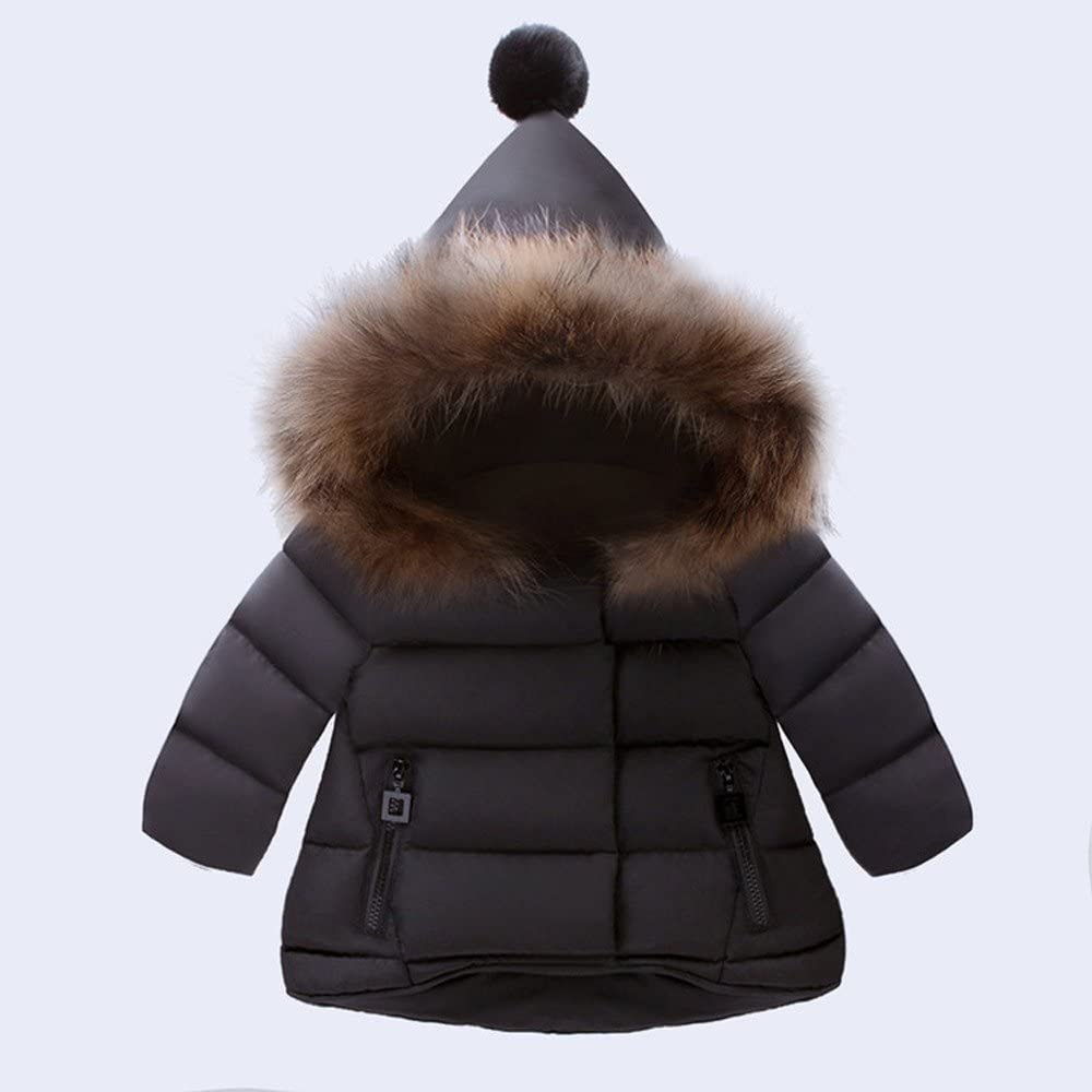 Clearance! Kids Baby Girls Boys Hooded Jacket Coat Autumn Winter Warm Solid Zipper Cotton Clothes Windproof Outerwear