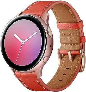 Imagen deSPGUARD Pulsera Compatible con Correa Samsung Galaxy Watch Active 2, 20mm Pulsera de Repuesto de Cuero para Samsung Galaxy Watch Active 40mm/Galaxy Watch Active 2 40mm/44mm(Rojo)
