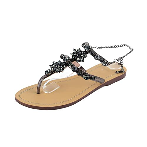 c4e802ea2 Romantic moments Women Sandals 2018 Bohemian Crystal Flat Heel Sandalias Rhinestone  Chain Thong Flip Flops