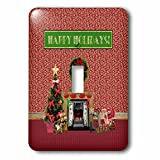 3dRose Beverly Turner Christmas Design - Christmas Room, Fireplace, Tree, Toys, Happy Holidays - Light Switch Covers - single toggle switch (lsp_267930_1)