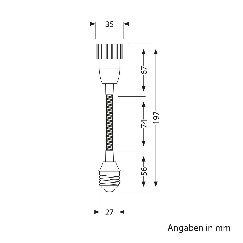 ledscom.de E27 Auf GU10 Swan Neck Extension Elektra 2 Pcs Adapter with GU10 Socket Black