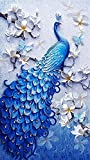 Diamond Painting Full Square 5D DIY Drill Peacock Lucky Bird DP Rhinestone Embroidery Arts Craft Paint-by-Number Kits for Home Decoration 12.5X21inch (Peacock)