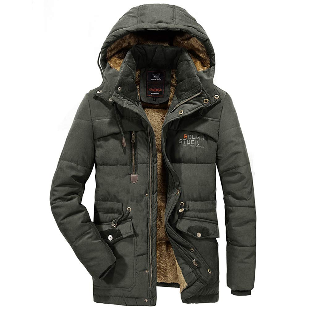 Mens Winter Coat with Hood Clearance.Men's Winter Velvet Thickened Plus Size Padded Windproof Warm Cotton Padded Coat by Pandaie-Mens Product
