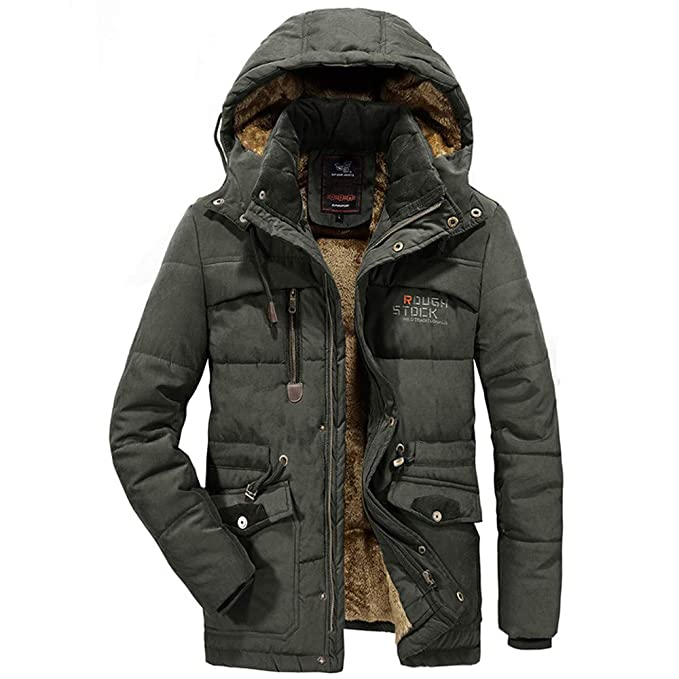 Amazon.com : HKDGID Mens Winter Super Warm Velvet Thickened Plus Size Thicken Coats, Solid Casual Padded Windproof Jacket Leather Cotton Padded Coat ...