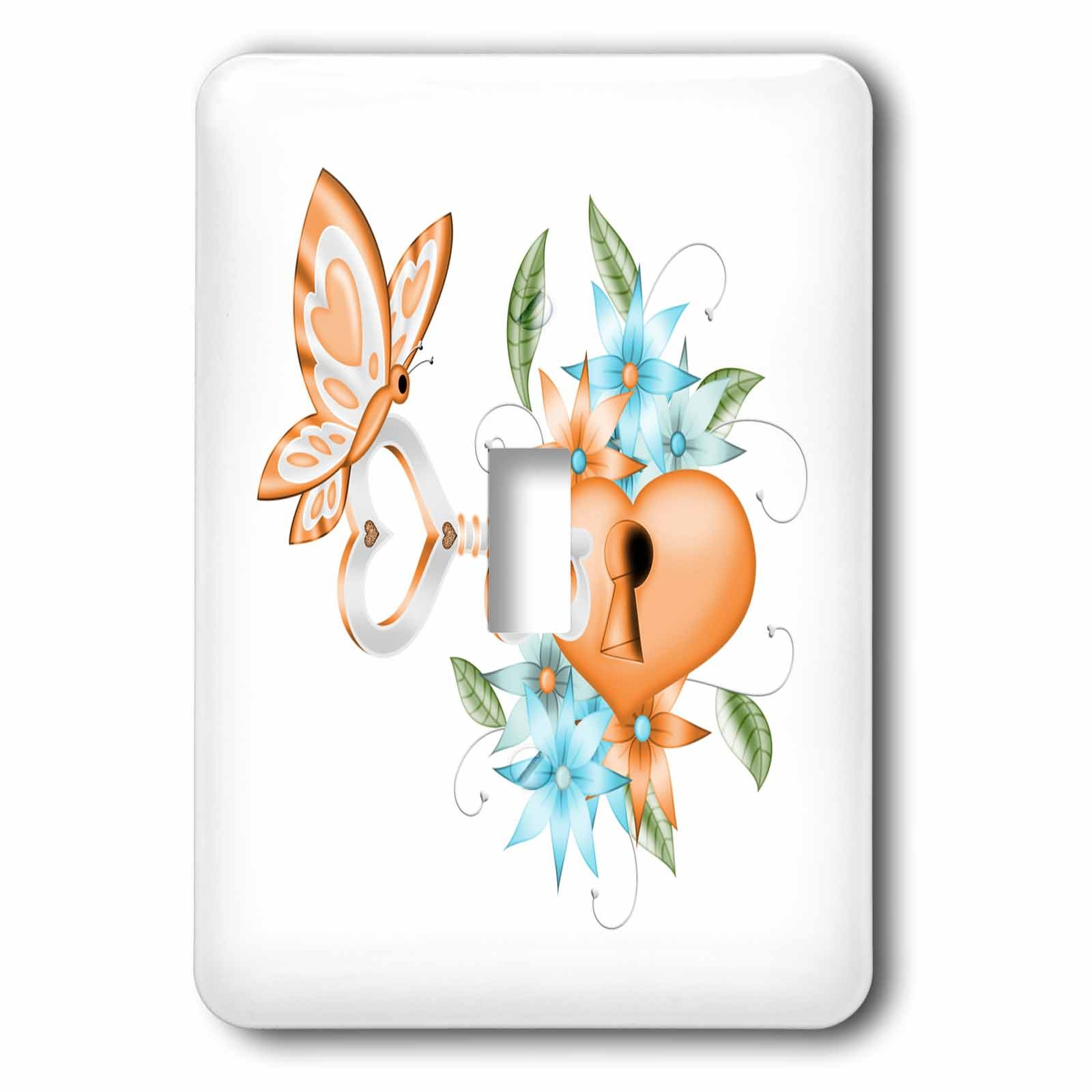 3dRose Anne Marie Baugh - Illustrations - Pretty Orange Butterfly With A Floral Lock and Key Illustration - Light Switch Covers - single toggle switch (lsp_264915_1)