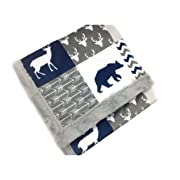 Deluxe Minky Baby Blanket, Woodland style in Navy and Gray, 28 x38