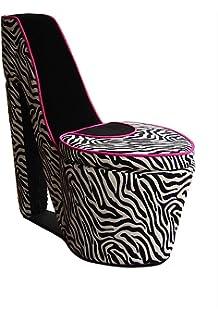 ORE International AHB4258B High Heel Storage Chair, Black Zebra