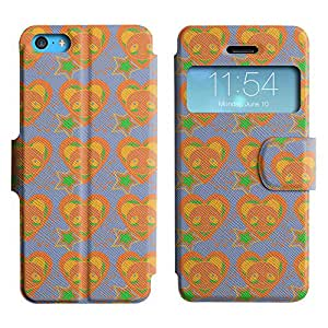 Be-Star Diseño Impreso Colorido Slim Casa Carcasa Funda Case PU Cuero - Stand Function para Apple iPhone 5c ( Orange Heart )