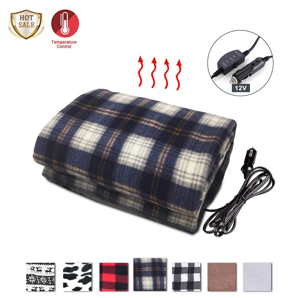 12V Heated Fleece Travel Throw Heating Blanket with AC Adapter for Car Auto Supplies RV Great Cold Weather Supplies SeaHome Electric Car Blanket