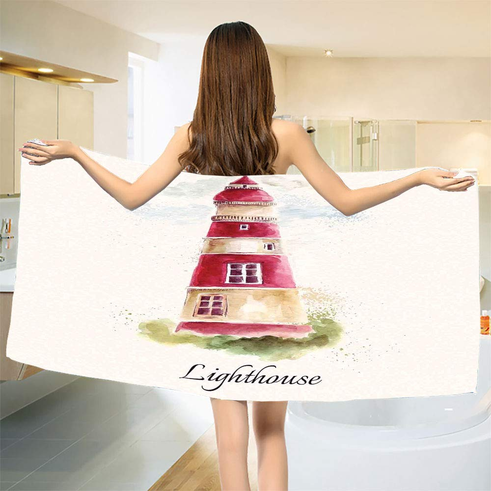 smallbeefly Lighthouse Bath Towel Watercolor Lighthouse Print Pastel Faded Vintage Lettering Windows Grass Clouds Bathroom Towels Multicolor Size: W 27.5'' x L 61''