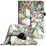 Fintie Samsung Galaxy Tab A 9.7 Rotating Case Cover - Premium PU Leather 360 Degree Swivel Stand Dual Auto Sleep/Wake for Galaxy Tab A 9.7-inch Tablet SM-T550, SM-P550(S Pen Version), Love Tree