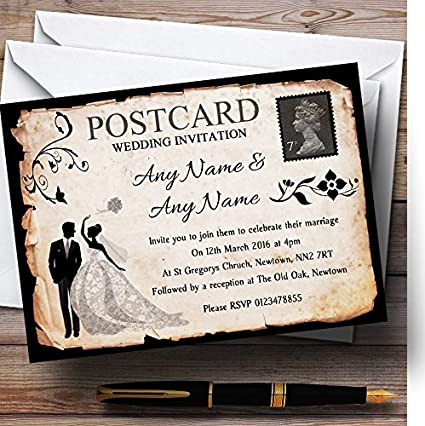 Black White Vintage Rustic Postcard Personalised Evening Reception Invitations Invites /& Envelopes