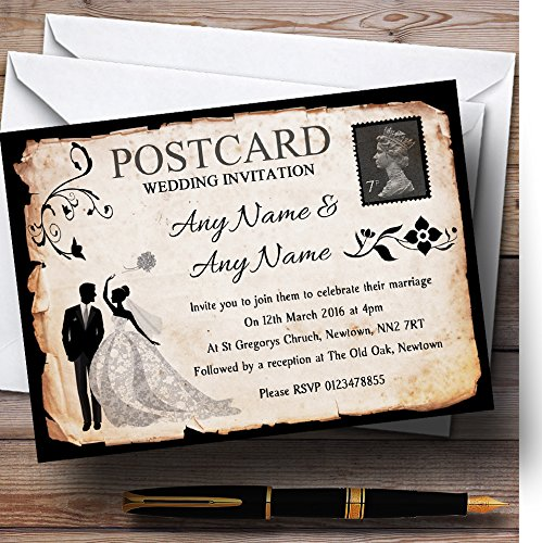 (Black White Vintage Rustic Postcard Personalized Wedding Invitations)