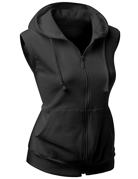 Black Sleeveless Hoodie Women'S