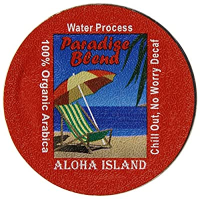 Aloha Island Coffee Company Chill Out Decaf Water K-Cup Coffee, Organic Arabica Decaf, 12 Count