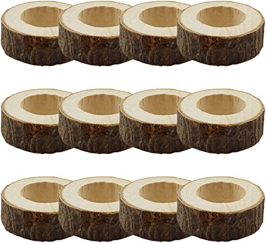 Shalinindia Handcrafted Rustic Wooden Napkin Rings Set of 12 for Table Dinner Decoration