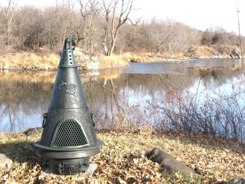 The Blue Rooster Co. Garden Style Cast Aluminum Wood Burning Chiminea in Green. by The Blue Rooster