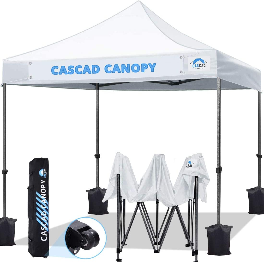 CASCAD CANOPY 10 x10 Ez Pop Up Canopy Tent with Removable DIY Banner, Outdoor Commercial Instant Shelter, Wheeled Carry Bag, 4 Weight Bags, White