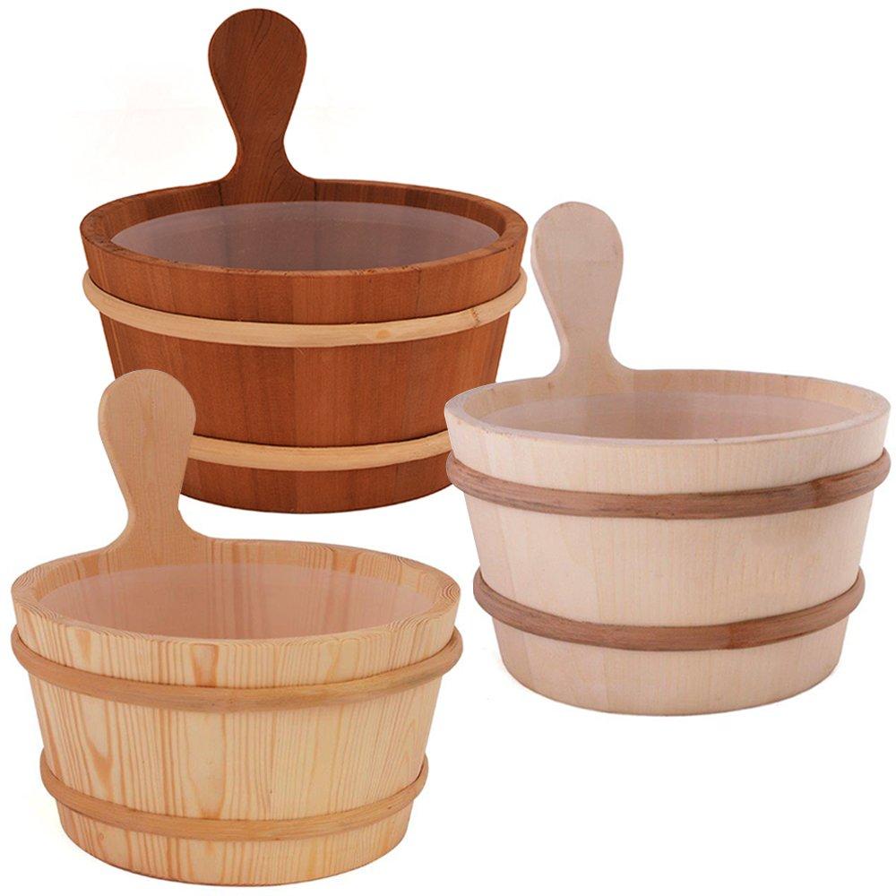 SAWO Sauna Seau en bois avec insert en plastique; Pin, Aspen ou Cèdre; 3L ou 4L Aspen ou Cèdre; 3L ou 4L