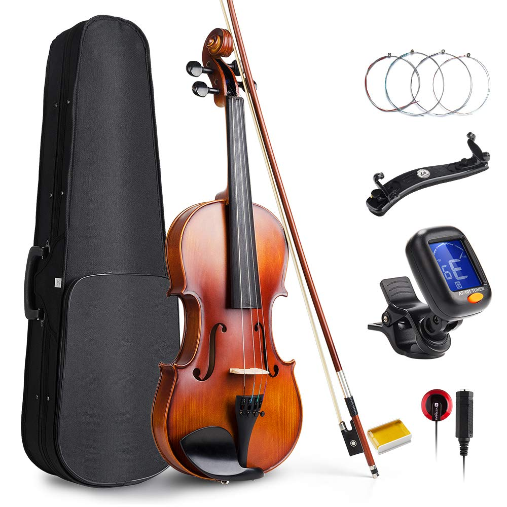 Vangoa Solid Wood Acoustic Violin Fiddle Outfit for Beginner Student, 4/4 Full size by Vangoa