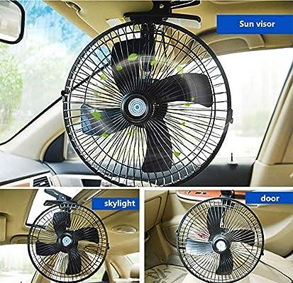 JINGBO Ventilador de Coche Abanico de Clip Enfriamiento rapido Motor de Cobre Puro Fan del Coche 2 velocidades 4 Hoja de Abanico Viento Grande Adecuado,12V: Amazon.es: Deportes y aire libre