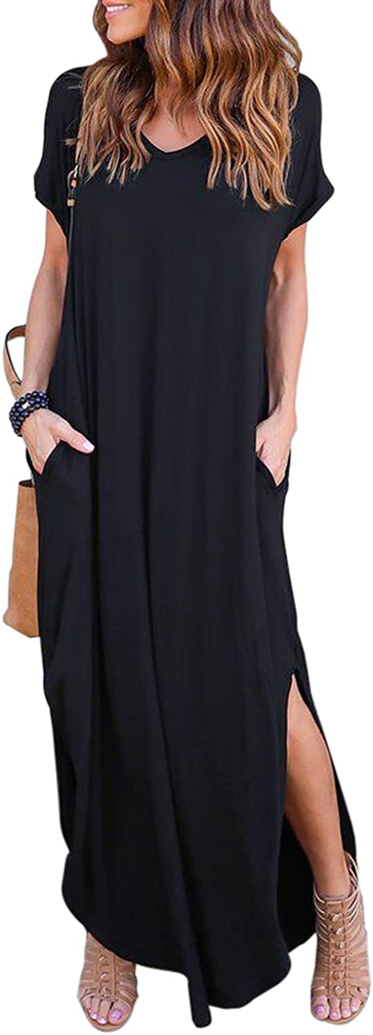 HUSKARY Women's Summer Maxi Dress Casual Loose Pockets Long Dress Short Sleeve Split