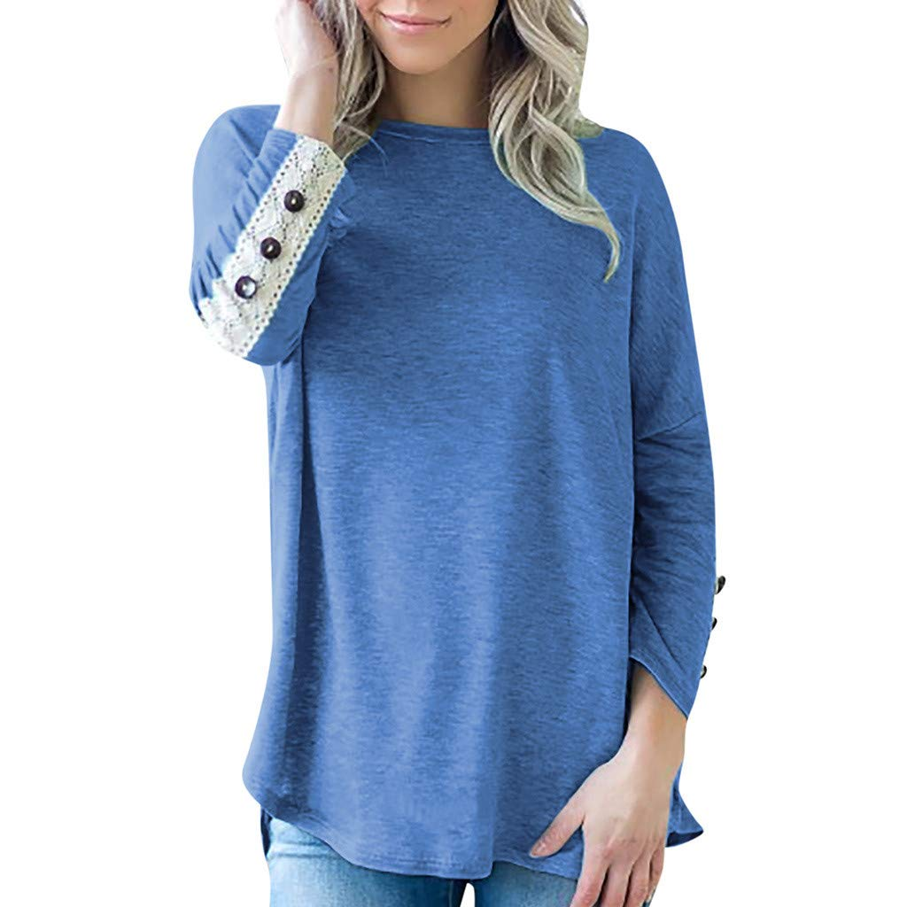 ✔ Hypothesis_X ☎ Long Sleeve t Shirt Women, Tunic Tops Sweatshirt Casual Shirts Pullover Lace Button Blouse Blue by ✔ Hypothesis_X ☎ Top