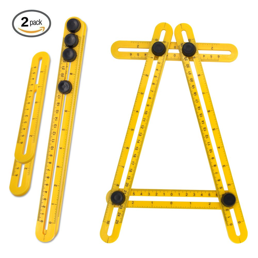 Rraycom Multi Angle Measurement Tool, 2 Pack Angleizer Template Tool Flooring Template Measure Ruler and Layout Tools for Handymen, Builders, Craftsmen and DIY
