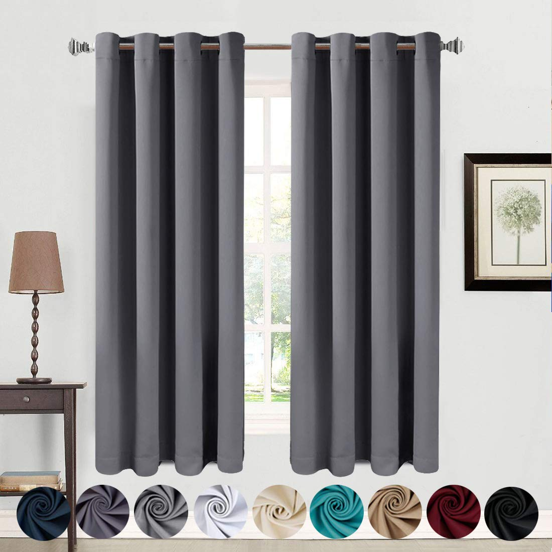 dad71a020274 Amazon.com: Balichun Blackout Curtains Thermal Insulated Grommets Darkening  Drapes for Bedroom/Living Room (Dark Grey, W52 x L63 (2 Panels)): Home &  Kitchen