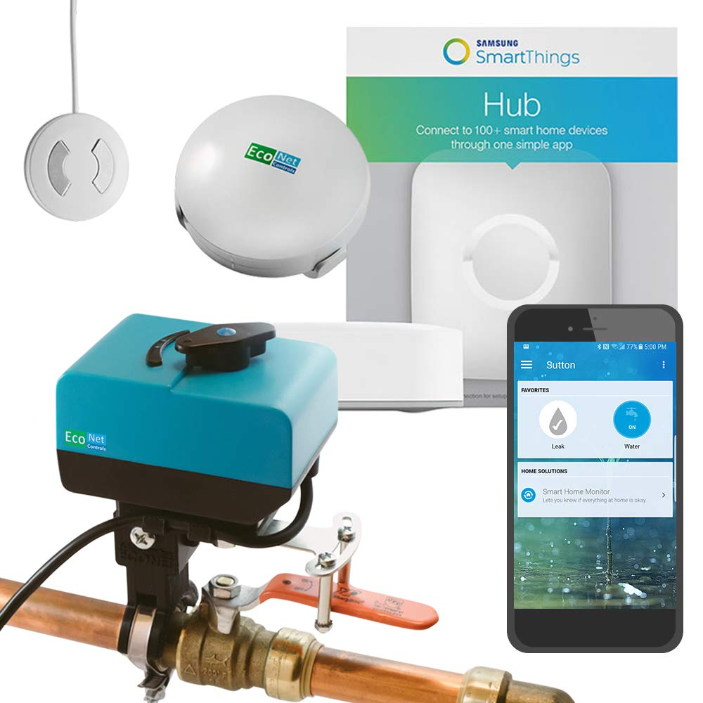Econet Controls EVC200-HCSML-SSK3 No Plumbing Required Smart Home Valve Kit, Bulldog Valve Robot Bundle with SmartThings Hub and 3 Water Leak Sensors, Z-Wave Water Valve, for Valves up to 1.5''