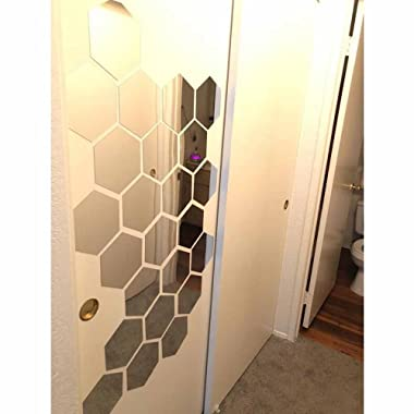 H2MTOOL Hexagon Stickers, 12 PCS 9cm Removable Acrylic Wall Stickers for Home Living Room Bedroom Decor (9cm, Silver)