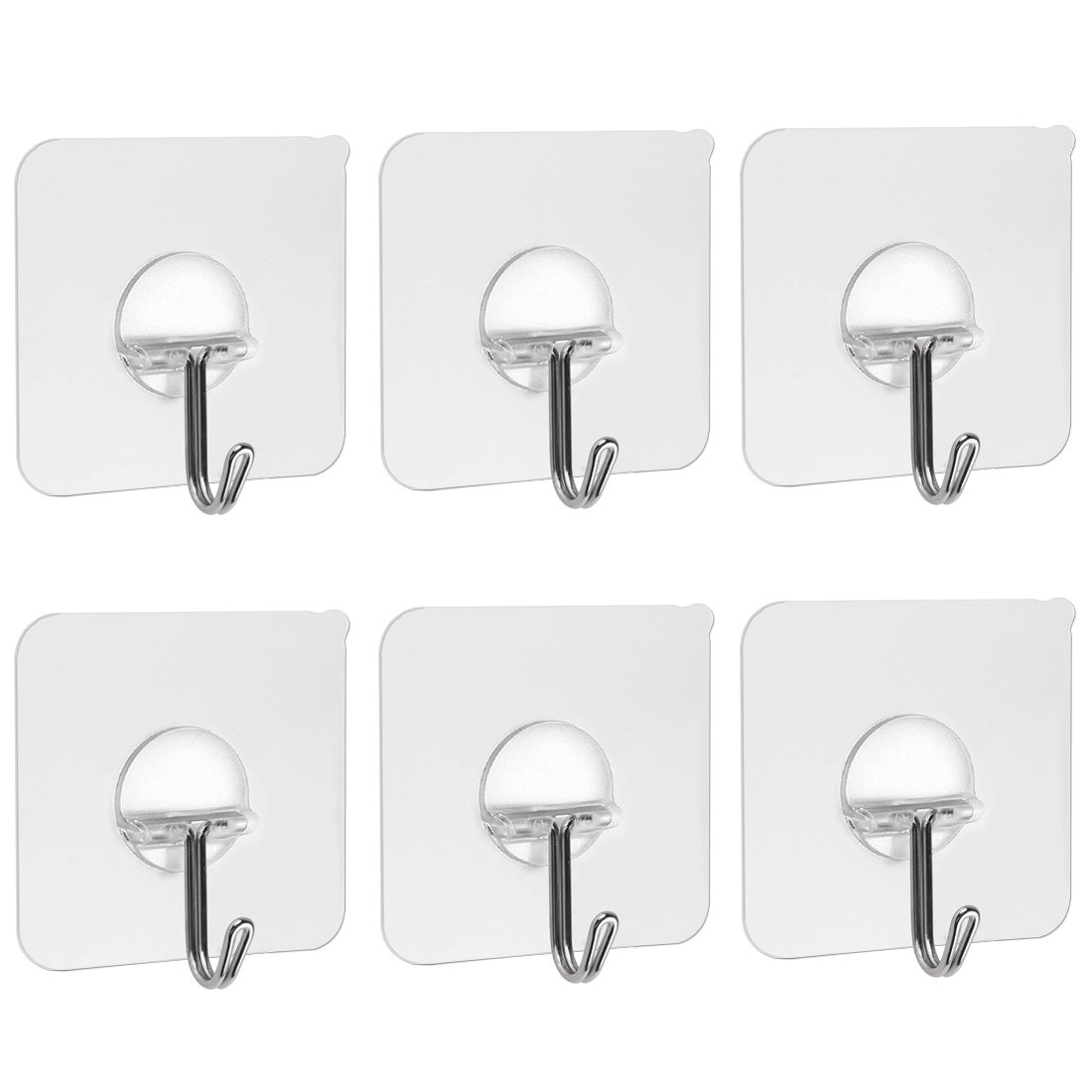 Qliver 13.2lb/6kg(Max) Adhesive Hooks,Nail Free Transparent Reusable Heavy Duty Wall Hooks,No Scratch,Waterproof and Oilproof,Bathroom Kitchen Wall towel hooks, Ceiling Hanger(6PACK)