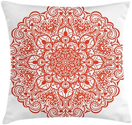 Ambesonne Red Mandala Throw Pillow Cushion Cover, Lace Inspired Motifs Flourishing Nature Theme Ornate Curves and Swirls, Decorative Square Accent Pillow Case, 24 X 24 , Orange