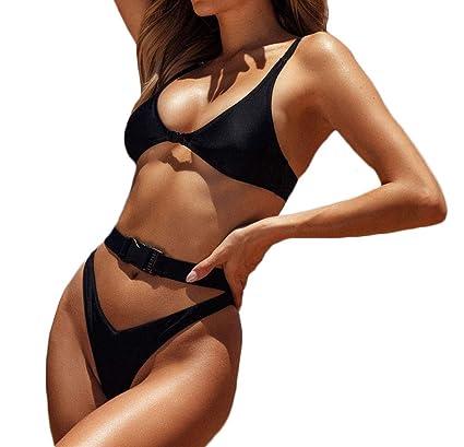 ebbcfd7a9da2c Amazon.com: Summersum Buckle Bikini Ladies Brazil Push up Swimsuit high Cut  Bandage Swimsuit Two-Piece: Clothing