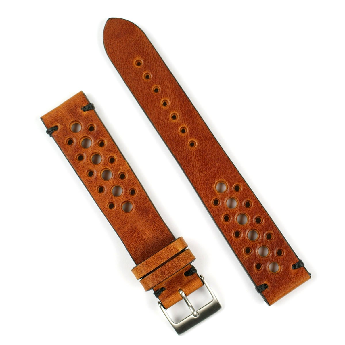 B & R Bands 20mm Cognac Classic Vintage Racing Watch Band Strap - Large Length