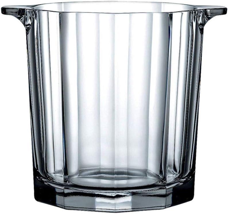 Cristal Cubitera Cubo De Hielo Con Pinzas Hielo Mango,aislamiento Cubitera De Vino Enfriador,espesar Vaso Champagne Enfriador De Vino Cubitera Para Hielo Partido Bar Picnic-claro 13x13x15cm(5x5x6inch)