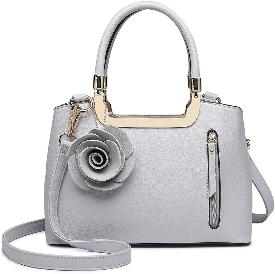 Miss Lulu Mujer Elegante Bolsa de asa superior Pequeña tendencia Bolsa de hombro Cuero pu Charm flor estructurado Bolso (gris)