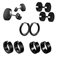 Stainless Steel Hoop Earrings (5 Pairs) for Men Women- Unisex Hypoallergenic Stud Huggie Style Round Piercing 18G Black