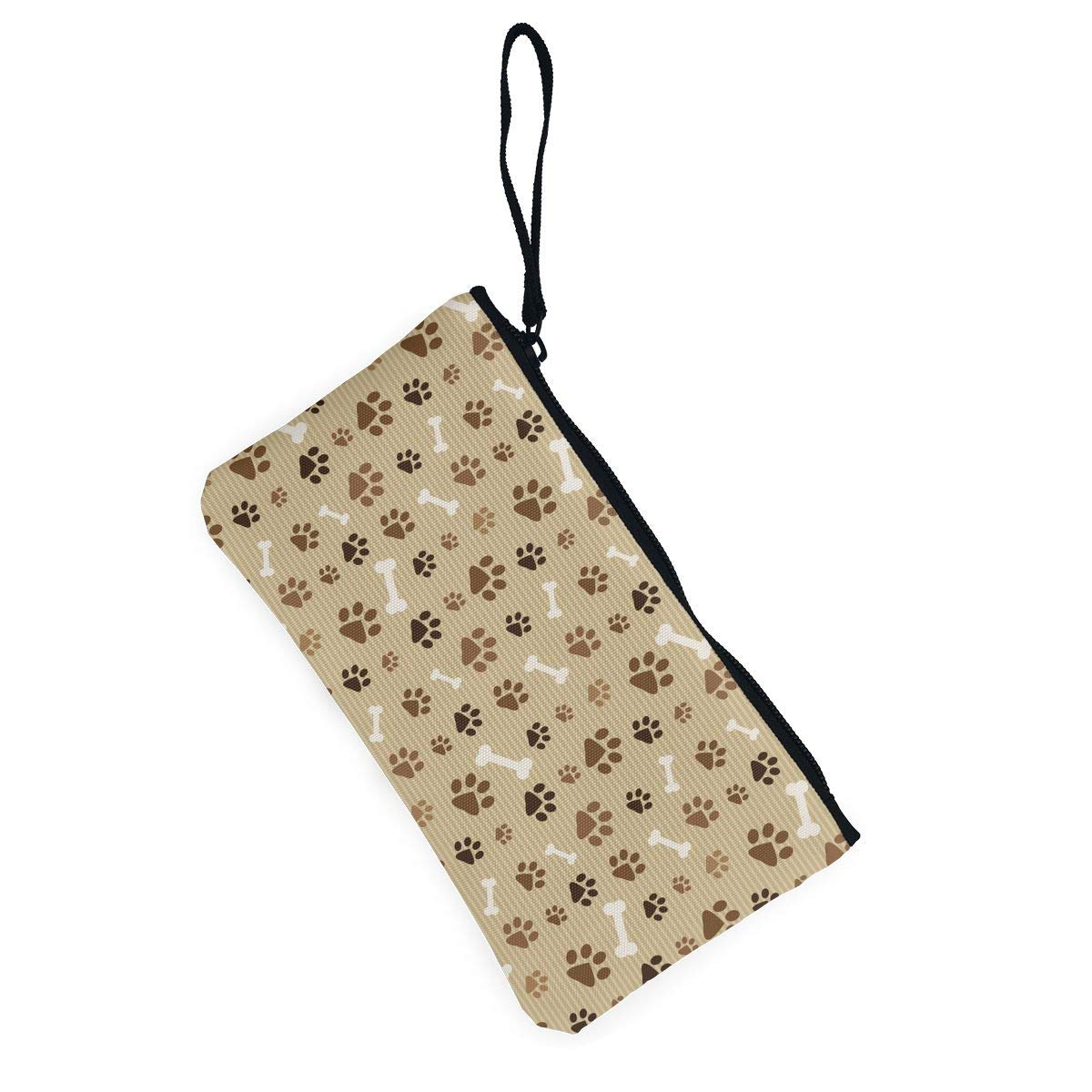 Footprints and Bones Pattern Canvas Change Coin Purse Retro Wallet Bag with Zip