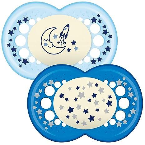 MAM - Conjunto de 2 chupetes que brillan en la oscuridad, con esterilizable estuche de viaje, 12 meses, Azul (Azul)