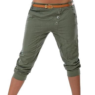 a8a6d7efb336 Ybenlover Damen Capri Hose Sommer Chino Borfriend Einfarbig Skinny  Beiläufig Hosen