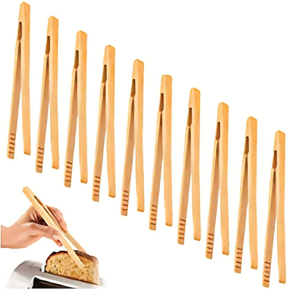 10 Pieces Bamboo Toast Tongs, Bamboo Tongs 7 Inches Toaster Tongs Made of Natural Bamboo Ideal for Toast Bread Pickles Fruits Tea