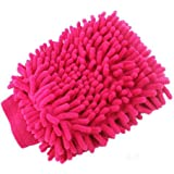 MAXGOODS Microfiber Dusting Mitt Car Window Washing Home Cleaning Cloth Duster Towel Gloves (Pink)