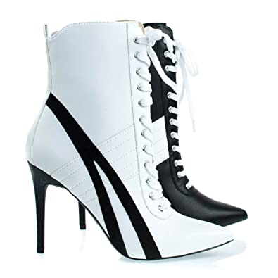 Lace Up High Heel Sneaker Above Ankle Bootie Color Block & Pointed Toe