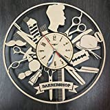Barber Shop Man Style Wall Clock Made of WOOD – Perfect and Beautifully Cut – Decorate your Home with MODERN ART – UNIQUE GIFT for Him and Her – Size 12 Inches